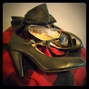 Jeffrey Campbell Black Leather Scalloped Maryjanes